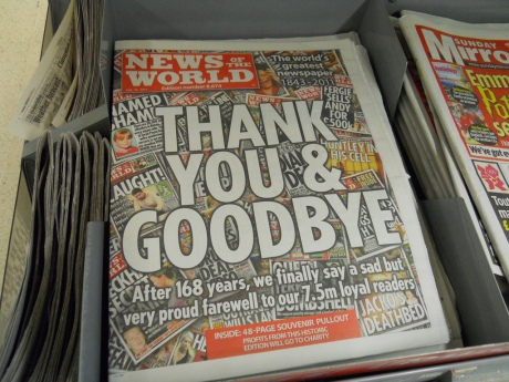 News of the World closed in  2011 following a phone-hacking controversy. Photo by Gene Hunt.